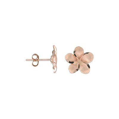 14kt Rose Gold 10mm Plumeria Earrings