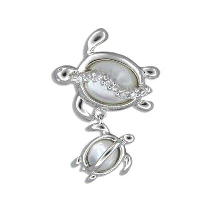 Sterling Silver Hawaiian Mother and Baby White MOP Pendant
