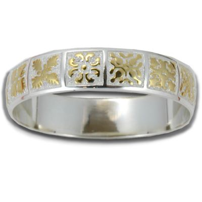Sterling Silver Two Tone 15mm Hawaiian Mixed Quilt Design Bangle with Plain Edge