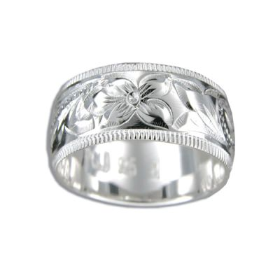 Sterling Silver 10MM Hawaiian Plumeria and Scroll Ring with Coin Edge