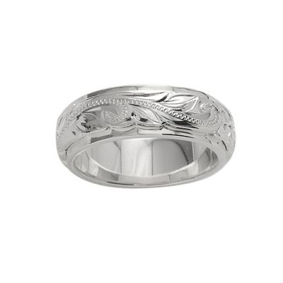 Sterling Silver 6MM Hawaiian Plumeria and Scroll Ring with Plain Edge