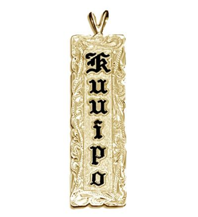 14KT Yellow Gold Name Drop Hawaiian Pendant with Hand Carved Scroll Cut-out Edges