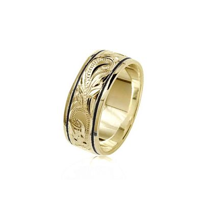 14K Yellow Gold Custom Hawaiian Ring with Black Borders