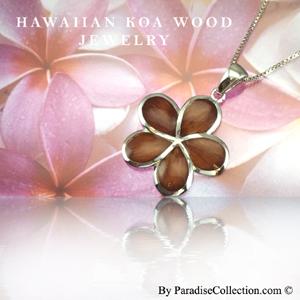 Koa Wood Plumeria pendant