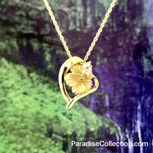 Yellow Gold Hawaiian Hibiscus Pendant